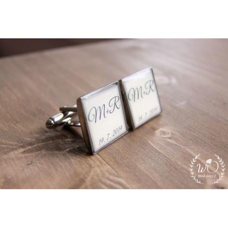 Manžetové knoflíčky iniciály na přání Beige