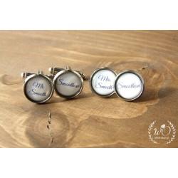 Set manžetové knoflíčky + náušnice Mrs a Mrs na přání
