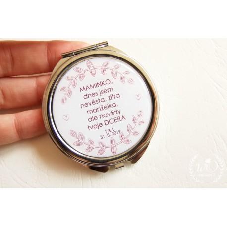 Zrcátko Svědkyně Vaše iniciály a datum na zakázku