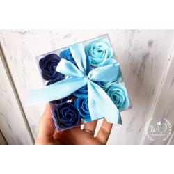 Svatební dárková mýdla Růže 9ks modré