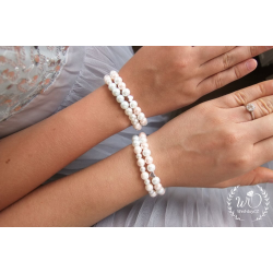 Svatební dvojitý náramek srdce Rose and white pearl