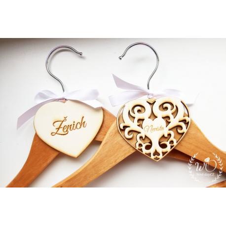 Svatební ramínko Ženich - Jmenovky a vývazky