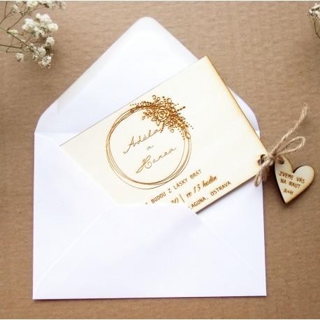 Dřevěné svatební oznámení srdce vlnky 23