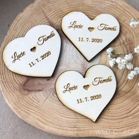 Srdíčko magnetka - Datum Vaší svatby