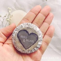 Dřevo srdce + váš text - Svatební mýdlo