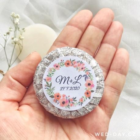 Svatební mýdlo Váš text Máky