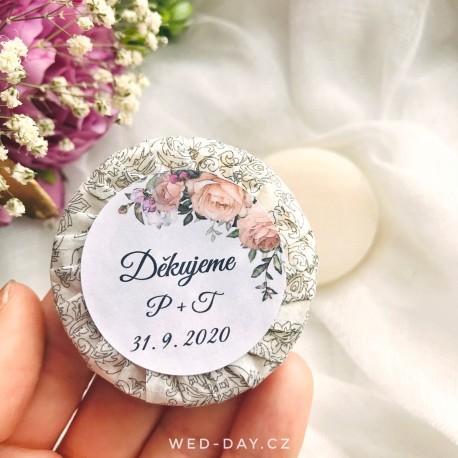 Růže + váš text - Svatební mýdlo