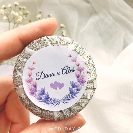 Srdíčkové + váš text - Svatební mýdlo