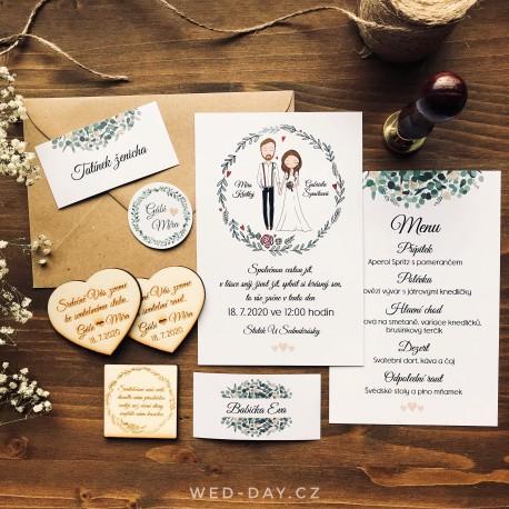 Boho Ženich a nevěsta - Jmenovky a vývazky
