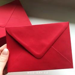 Tmavě červená - Obálka pro svatební oznámení C6