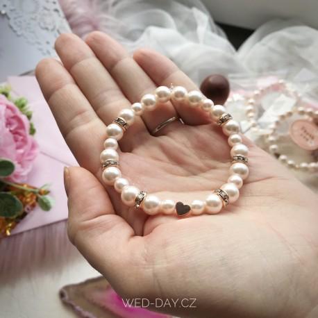 Svatební náramek Rose gold srdce perličkový