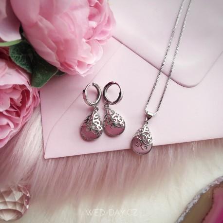 Náušnice Pink rose Opál, stříbro 925