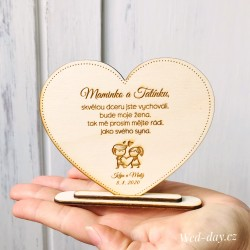 Srdce poděkování pro rodiče nevěsty