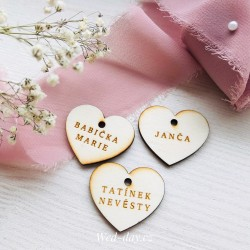 Srdce k zavěšení - Jmenovky a vývazky
