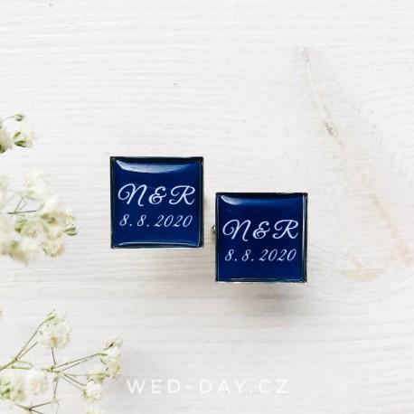 Knoflíčky Navy blue Vaše iniciály a datum