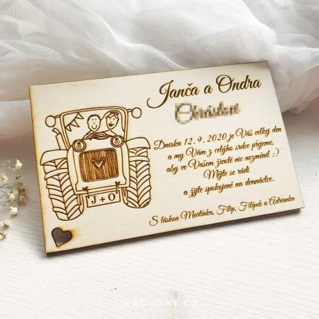 Dřevěné blahopřání novomanželům Traktor