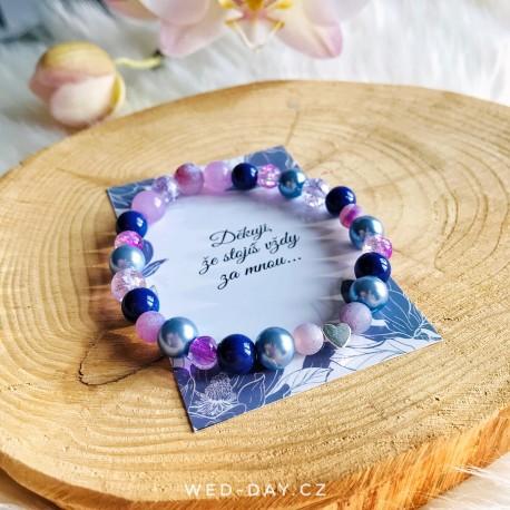 Svatební fialový náramek srdce