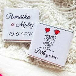 Novomanželé + váš text + srdíčko - Svatební čokolády